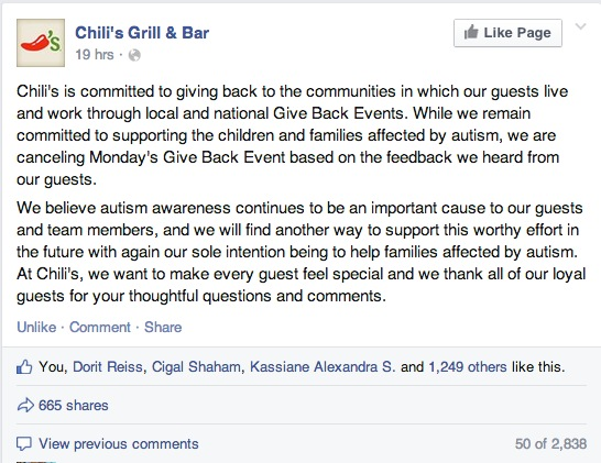 Chilis Not Going to Happen