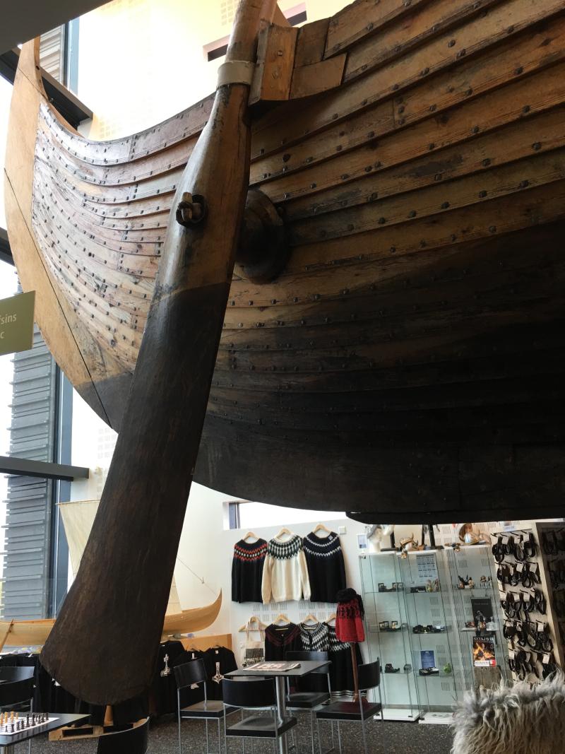 Viking ship view from below rudder 2