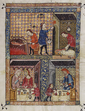 Rylands_Haggadah,_The_Preparation_for_the_Seder_(above)_and_The_Celebration_of_the_Seder_(below)