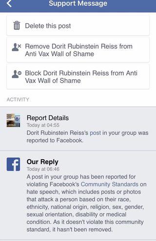 Facebook resported as hate speech