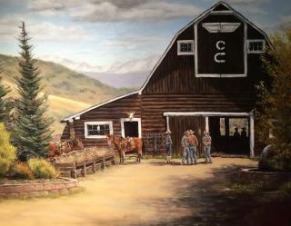 E Griffiths Oil Painting Main Barn