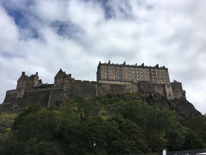 Edinburg castle view from below Princes 1