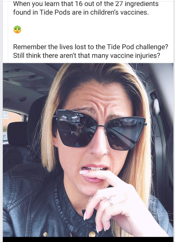AntiVax mom fearmongering about tide pod ingredients and vaccines