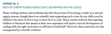 Finding 5:Much Of Teaching of Reading Instruction Incompatible With Science