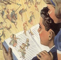 1940s illustration of kids reading