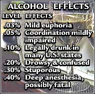 Physical and emotional effects of rising blood alcohol concentrations